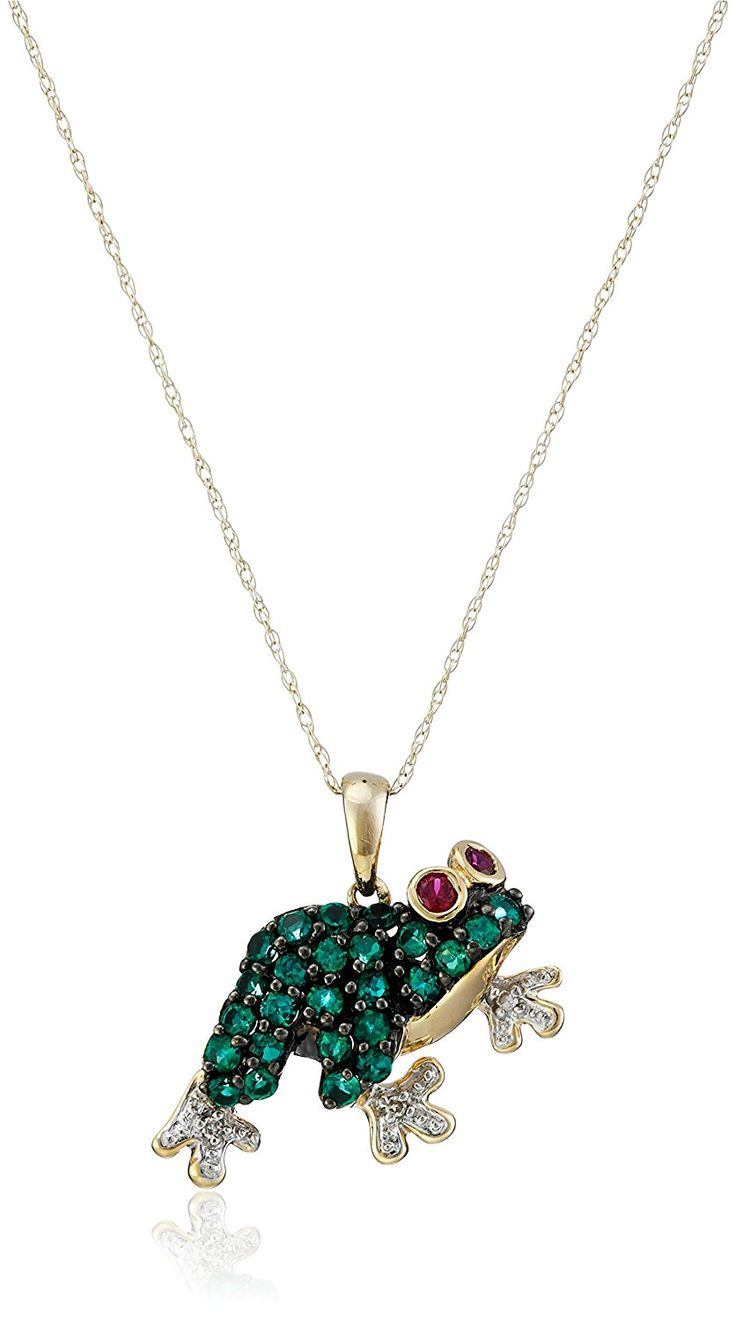 10k Yellow Gold Created Emerald and  Created Ruby Frog with Diamond-Accent Pendant Necklace, 18' -- Find out more about the great product at the image link. (This is an Amazon Affiliate link)