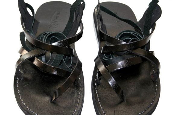 Black Gladiator Leather Sandals for Men & Women Triple por SANDALI