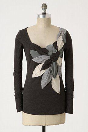 flower applique idea from Anthropolgie.......hrt, much inspiration here, would I want a shirt, skirt, dress, wall hang, blanket, pillow?...,,,all!?! So pretty!