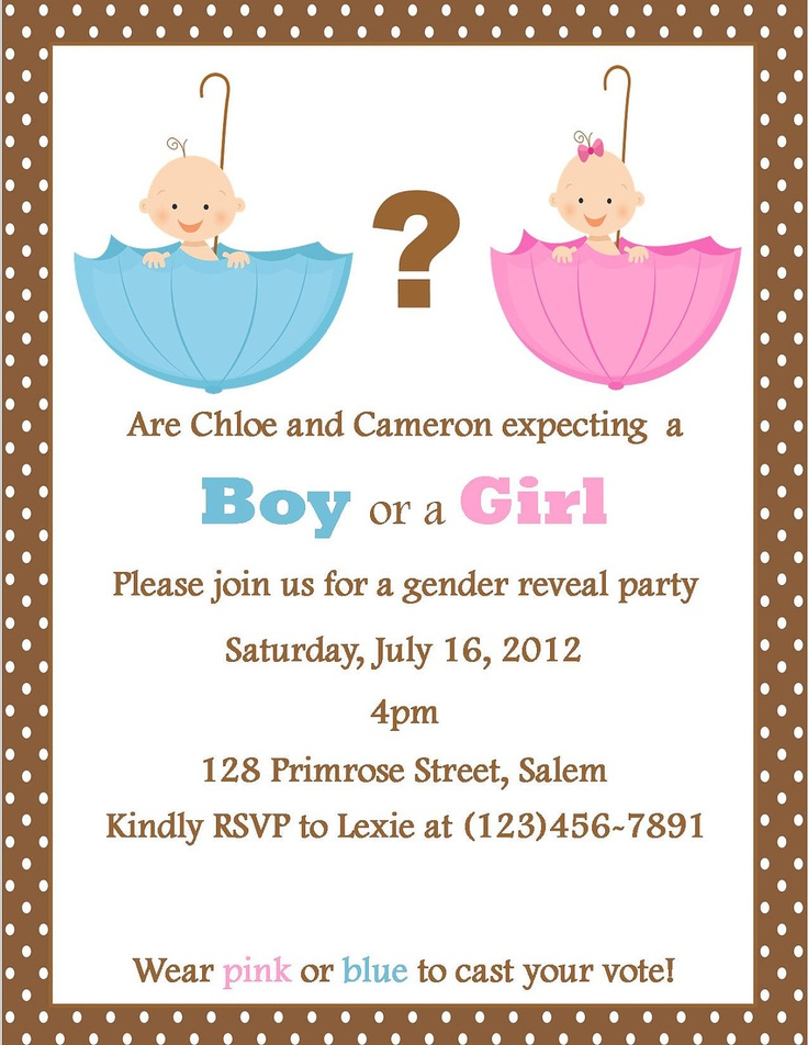 Gender Reveal Party Invite I Like That You Wear Pink Or Blue Boy