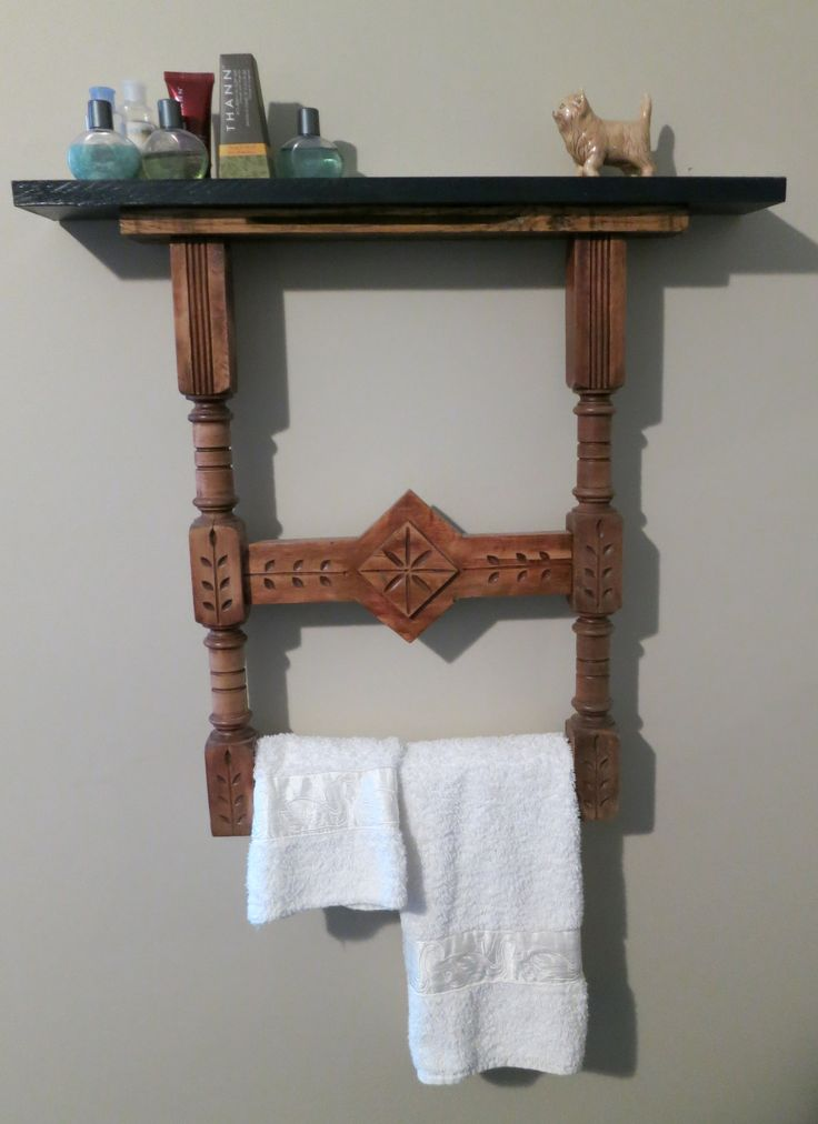 This was made from a set of old table legs.  A top was added for the shelf.  It is in the guest room for guests' towels and toiletries.