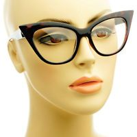 Retro Vintage Womens Fashion Clear Lens Cat Eye Glasses Frames Tortoise