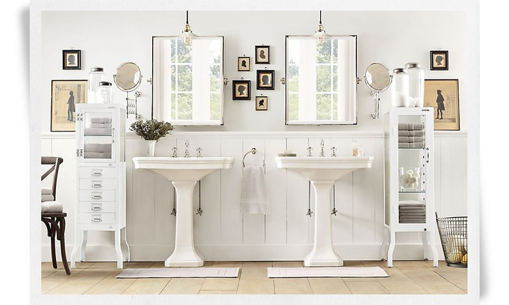 Images On Double pedestal sinks tilting mirrors bead board and neutral color palette Nice Bathroom project Pinterest Pedestal sink Neutral color palettes