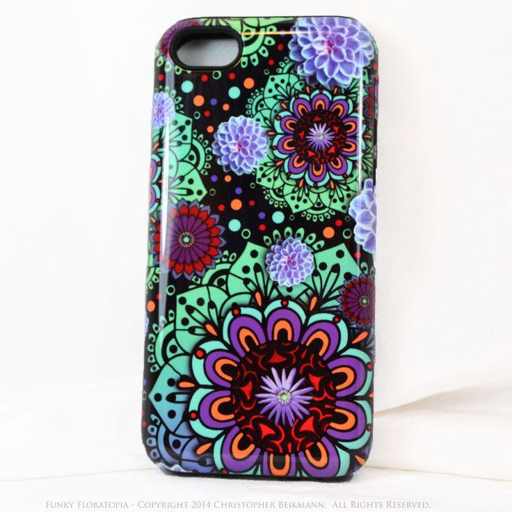 Green & Purple Floral iPhone 5c TOUGH Case - Funky Floratopia - Dual Layer Paisley iPhone 5c Case