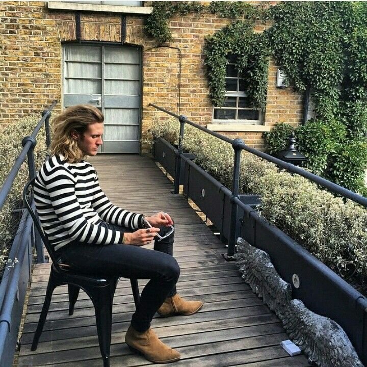 Instagram regram: Dougie Poynter, men's fashion, stripe jumper, Saint Laurent boots, style