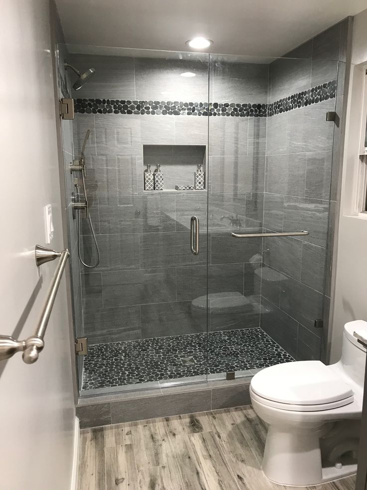 Sliced Charcoal Black Pebble Tile Shower Remodel Small Bathroom Shower Floor