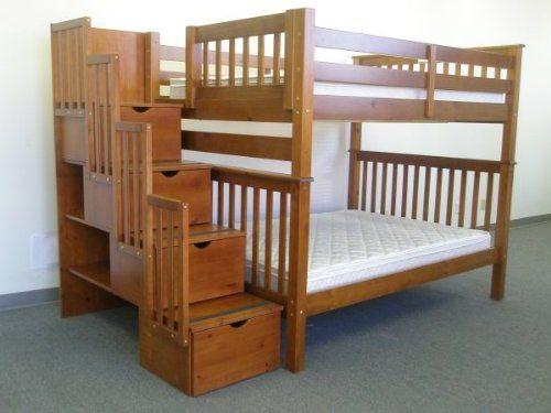 Bedz King Full Over Full Stairway Bunk Bed, Espresso Bedz