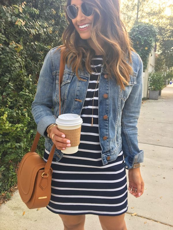 haute off the rack, spring style, women's fashion, gigi new york, jenni saddle bag, striped dress, striped shift dress, denim jacket, rayban round sunglasses, kendra scott jewelry