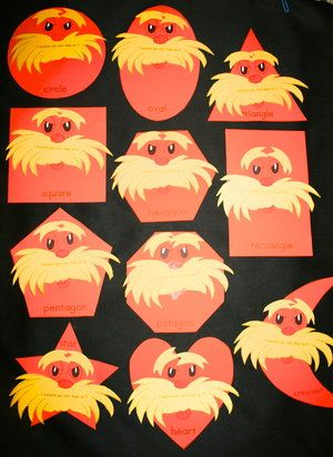 Dr. Seuss Activities: Lorax Shapes (pinned by Super Simple Songs) #educational #resources for #children