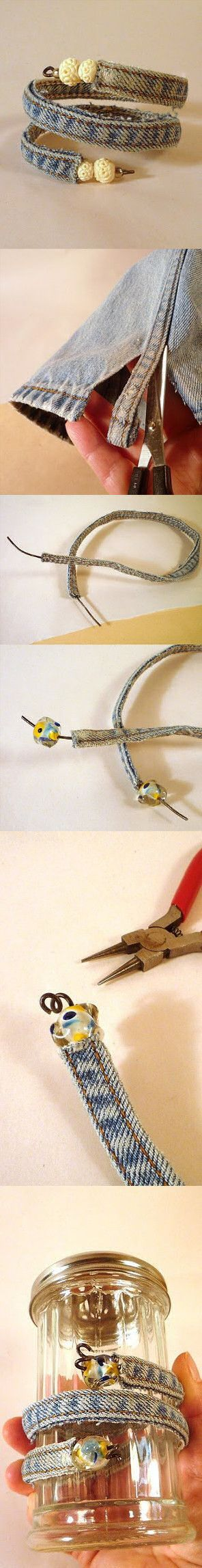Some flower wire and an old pair of jeans makes a cool bracelet