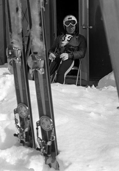 Konrad Bartelski of Team GB relaxes after training for Men's Downhill Skiing at the 1968 winter Olympic games in Sapporo