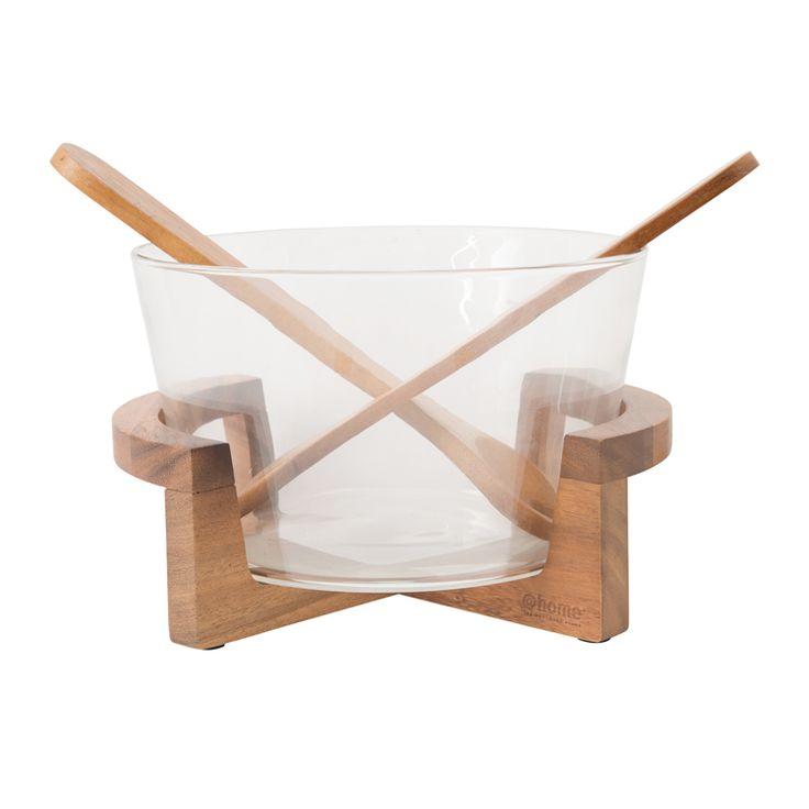 salad bowl glass on acacia wood stand