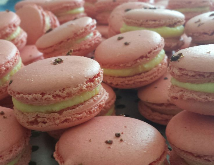Strawberry, Orange blossom and pink peppercorn macaron.