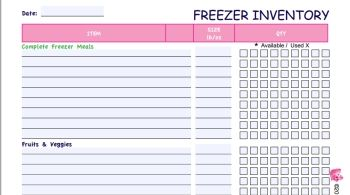 Know what's in your freezer! Free Printable Freezer Inventory Form