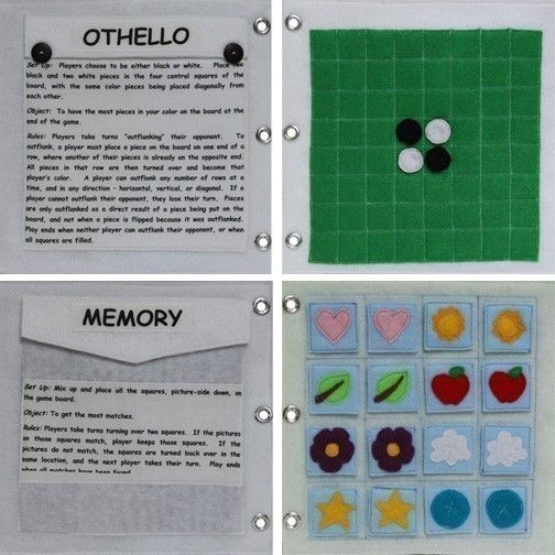 Games to Go - ePattern for a Child's Quiet Book. $8.00, via Etsy.