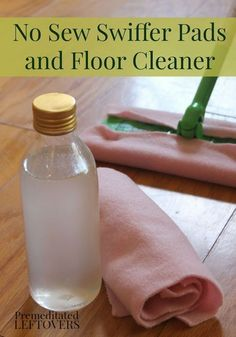 How to Make Homemade Swiffer Pads and Solution - Easy DIY no-sew swiffer pads tutorial and homemade floor solution recipe to cut the chemicals and cost on an everyday household cleaner.