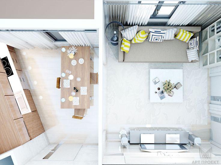 Визуализация интерьера гостиной-кухни. Вид сверху