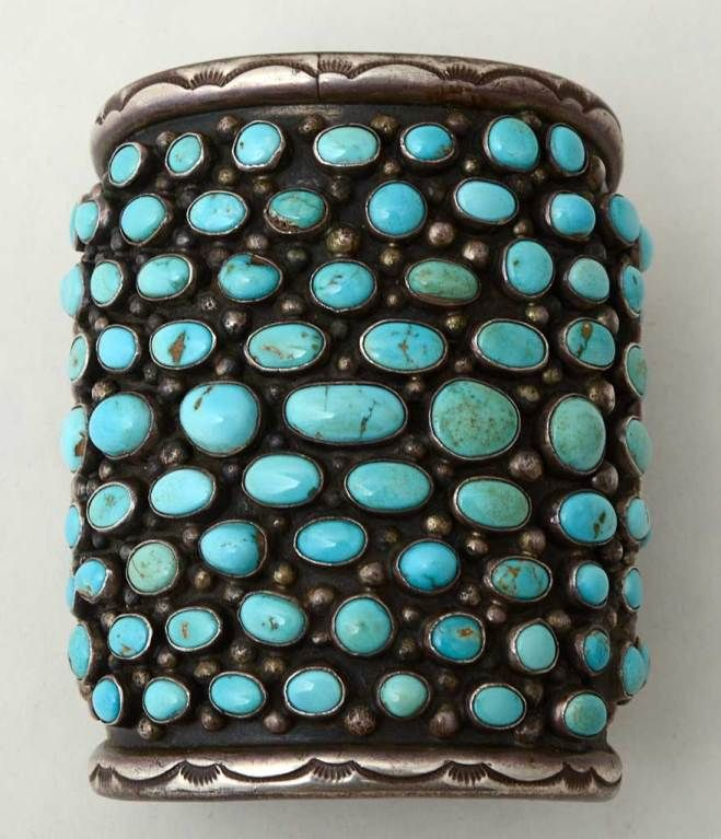 Cuff | Stamped BM. Sterling silver and natural turquoise, probably from an Arizona mine. c.1960's. (Navajo)