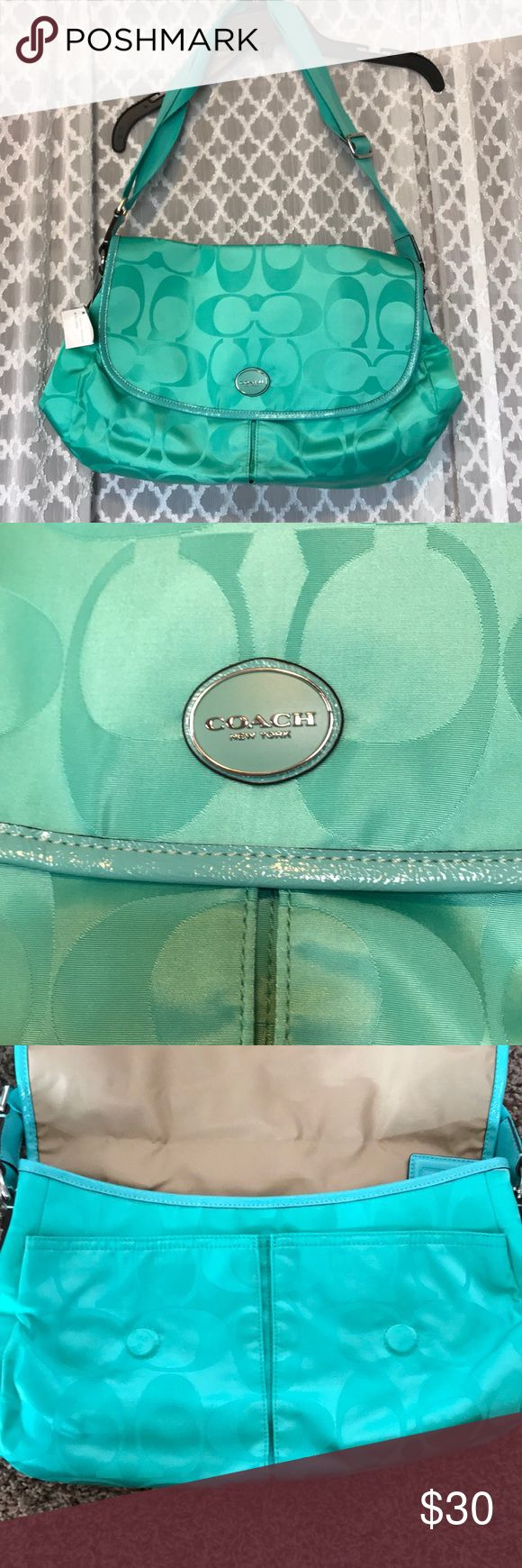 Coach messenger bag Aqua color coach messenger bag. Older version but very cute. Multiple pockets and adjustable straps. Coach Bags Mini Bags