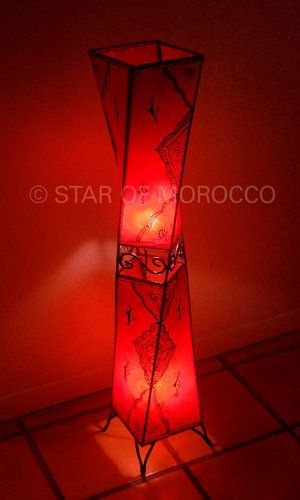 Star of Morocco's Subra Red Lamp. Made of sheep skin.