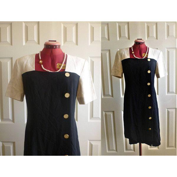 Vintage Liz Claiborne black and white dress ($30) via Polyvore featuring dresses, 3 4 length sleeve dress, black and white dress, slit dress, white black dress and back zipper dress