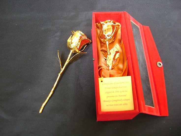 Anniversario di matrimonio regalo unico 6 pollici 24 K oro rosa naturale in raso e fiocco in oro a mano con scatola di velluto rosso gioiello e Card: Amazon.it: Giardino e giardinaggio
