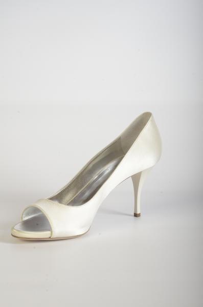 6711 Escarpin Open Toe ivoire à talon 7cm