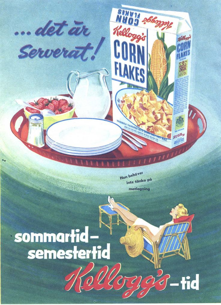 https://flic.kr/p/9cf4NA | Swedish ad for Kellogg's Cornflakes, 1954 | Summertime - vacation time - Kellogg's time!