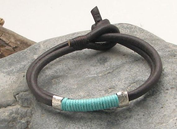 Custom Jewelry. Unisex leather bracelet.Men or women ,black leather wrap bracelet with turquoise yarn and silver plated spacers.
