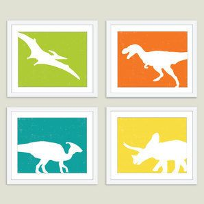 """Boy Bedroom: Dinosaurs Print Set - 8""""x10"""" Print Set - Ready to frame. by Aldari Art Studio These are cute for a boy bedroom"""