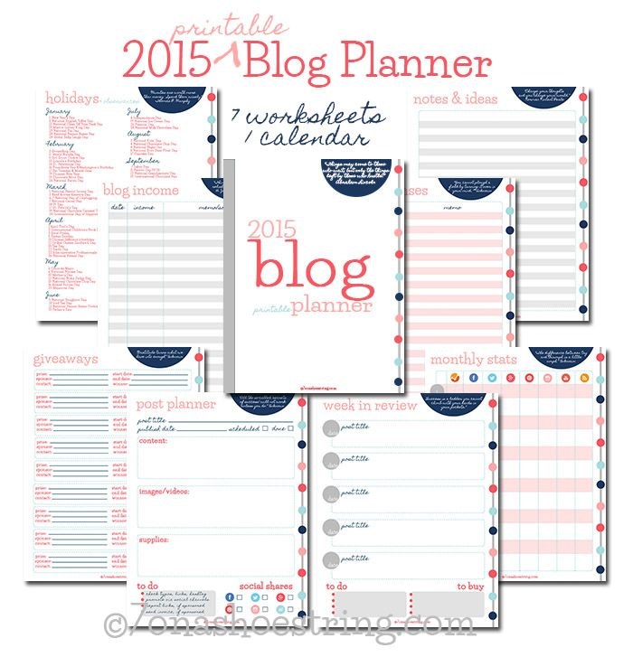 2015 Printable Blog Planner