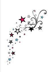 Image result for stars *swirls birds* back over the shoulder tattoo* kids names