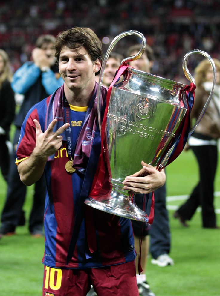 Messi with the Champions League trophy