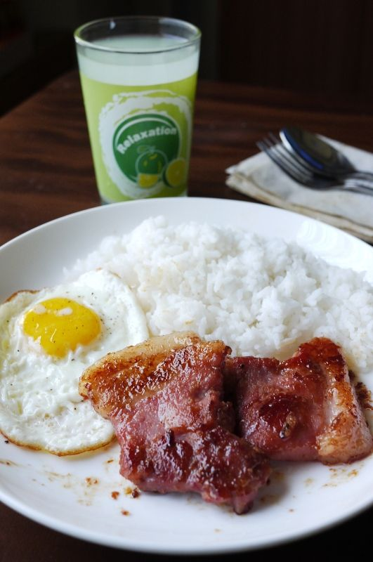 Fried egg and bacon with rice | Eggcellent | Pinterest