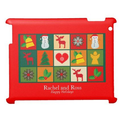 Festive Fun Cartoon Red Photo Frame Personalize Case For The iPad 2 3 4 - red gifts color style cyo diy personalize unique