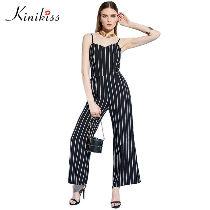 Women rompers jumpsuit spring black striped backless zipper straight female sexy straight bodysuit