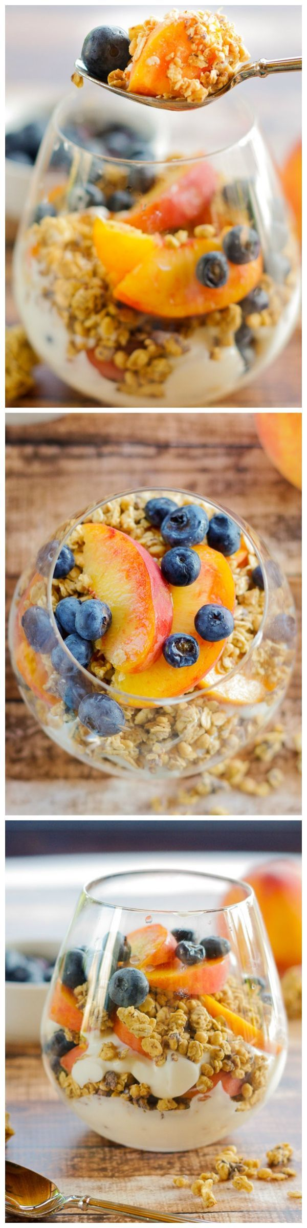 Healthy Granola Parfaits with Peaches & Blueberries! Try this for breakfast!!