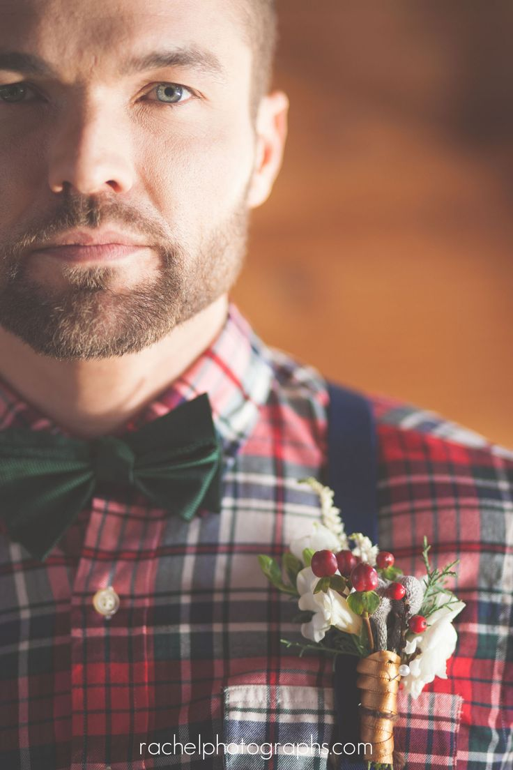 Rustic, vintage, DIY, winter wedding workshop.  Gold wedding dress! Lumberjack. Groom. rachelphotographs.com Unique Groom Attire.