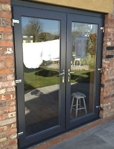 UPVC PVC FRENCH PATIO DOORS GREY ON WHITE OPEN IN 1301-1400MM WIDE