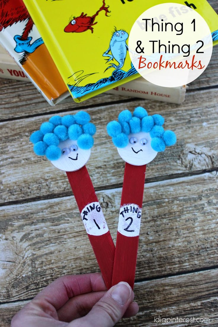 Celebrate dr seuss birthday or anyway with these free dr seuss quote - Dr Seuss Kids Craft Thing One And Thing Two Bookmarks The Cat
