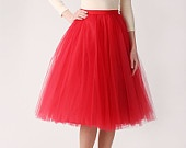 yes please. Red tutu tulle skirt,  via Etsy.
