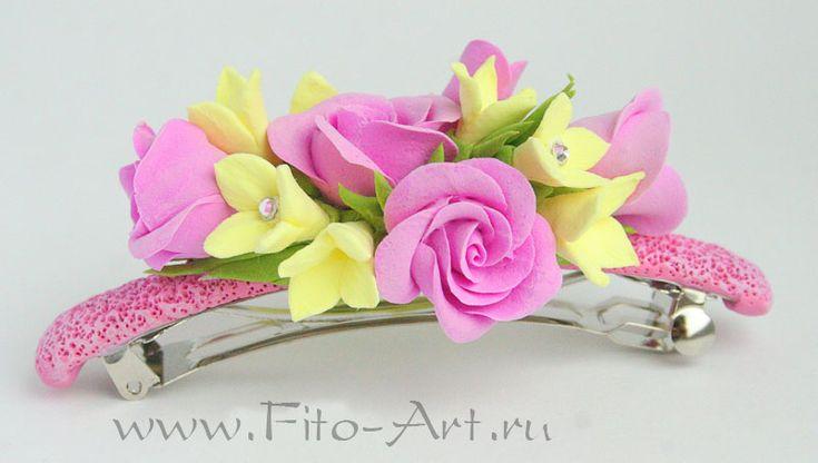 Заколка-автомат с розовыми розами. Полимерная глина. Екатерина Звержанская.