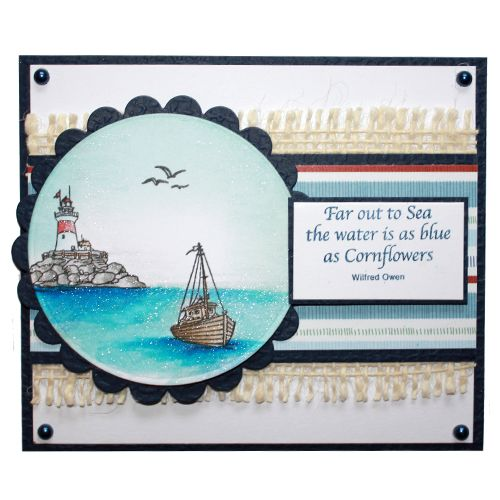"""This Card was made by Laura Williams using the new """"Harbour Village"""" stamp set designed by Sharon Bennett for Hobby Art Stamps"""