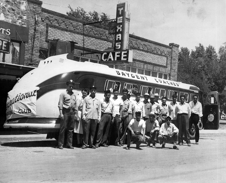 Alpine Internationals Baseball Club, (present Saddle Club location in Alpine), players identified: standing, left to right,  Petronilo Minjarez, Henry Fierro, Rudy Valenzuela (inside bus), Chon Sotelo, Marcelo Alarcon, Big Joe Almodova; kneeling, left to right Tino Valenzuela, Alfredo Leyva Jr., Angel Bermudez - See more at: http://alpinedailyplanet.typepad.com/alpine-daily-planet/big-bend-news/page/45/#.dpuf