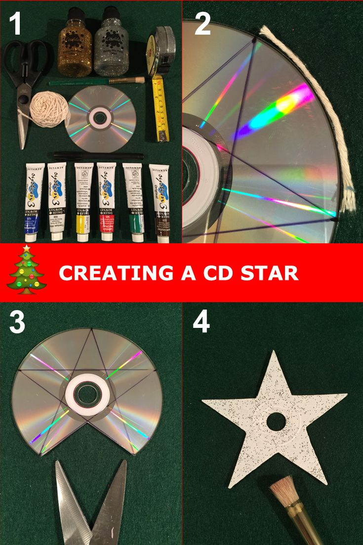 Create a 5 point star Christmas decoration from an old CD. Step by step  guide