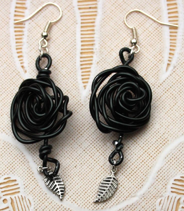 wire rose zwart earrings oorbellen sieraden jewelery