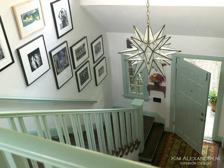 Stair Hall & Entry Details: Black & White Photography, Star Lantern, Craftsman Style Architecture.