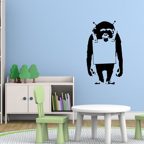 Banksy Wall Decal - Your Message Here Gorilla - Banksy Sticker - Banksy Art - Animal Wall Stickers - Gifts For Him - Gorilla Sticker - BA011