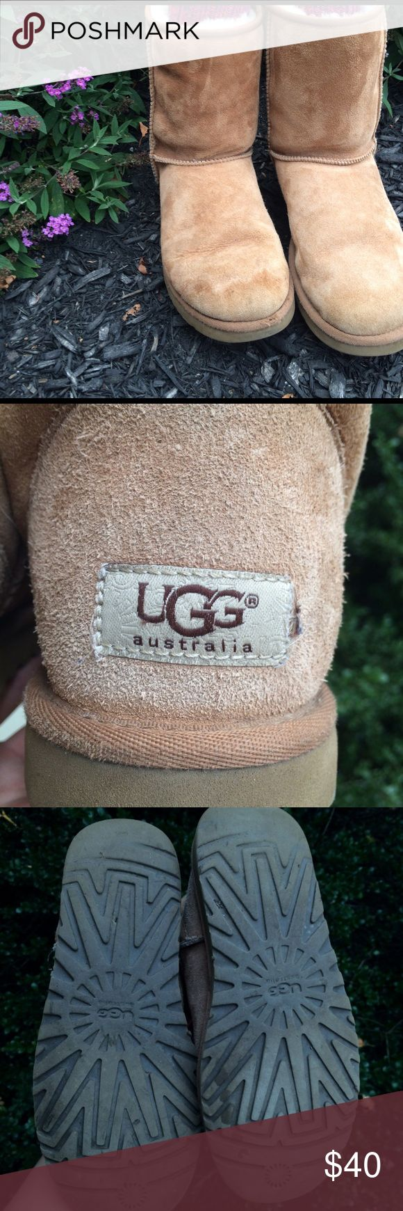 "Light Brown ""The Classic"" UGG Boots Soles in good condition, fur lining in good condition, some water damage to front of shoes, Size 8, Shipped in Original UGG Boot Box UGG Shoes Ankle Boots & Booties"