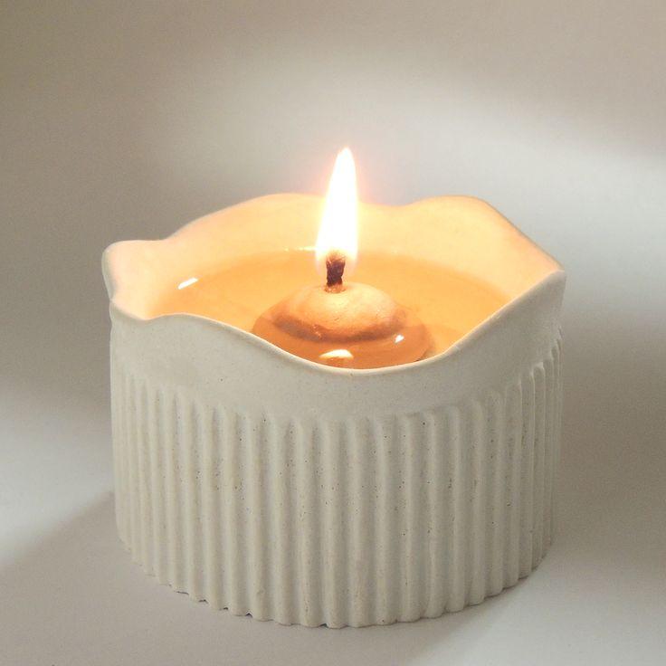 """""""Blockljus"""" av keramik som brinner med matolja - enkelt och giftfritt! 89 kr/st"""